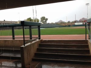 Day 1 of A's spring training camp was a decidedly overcast affair