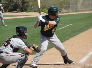 The home run king of the A's minor league system in 2012, outfielder Dusty Robinson hit 27 home runs between Burlington and Stockton last season