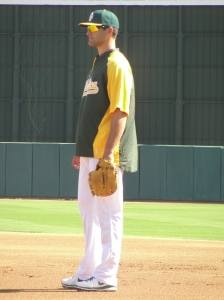 "The A's new 6'8"" first baseman Nate Freiman"