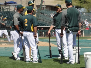 Cespedes, Gallego, Melvin, Moss & Smith engage in a little friendly pre-game banter around the cage
