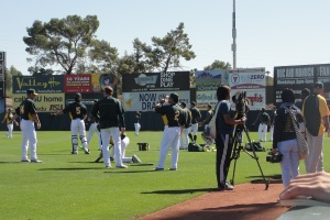 The scene at Phoenix Muni before batting practice on Monday