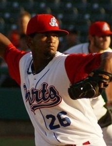 Midland RockHounds Pitcher Raul Alcantara (8 IP / 6 H / 1 ER / 1 BB / 1 K / Win)